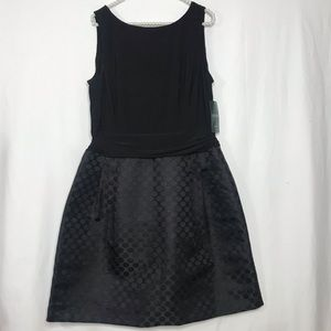 Ralph Lauren Black Polka Dot Cocktail Dress NWT